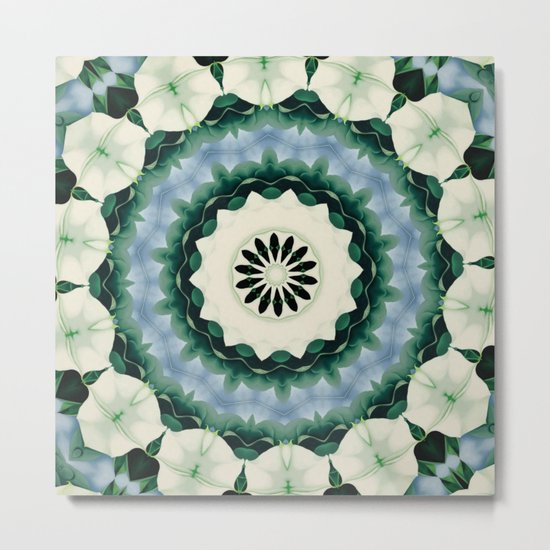 Cerulean Blue and Sacramento Green Mandala Metal Print