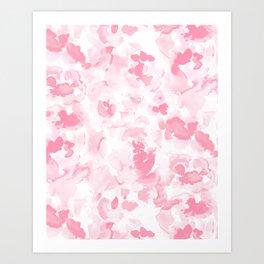 Abstract Flora Millennial Pink Art Print