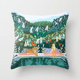 Chilling || #illustration #painting Throw Pillow