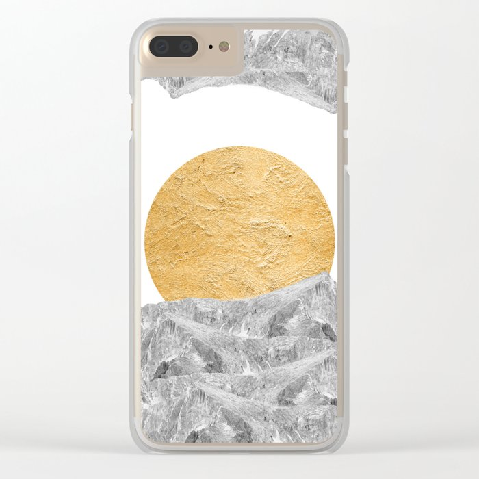 Modern Abstract - Sun and Mountains Clear iPhone Case