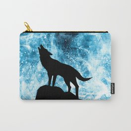 Howling Winter Wolf snowy blue smoke Carry-All Pouch