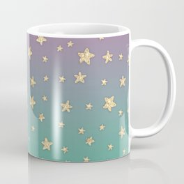 Pink turquoise gradient faux gold glitter stars Coffee Mug