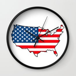 United States Map with American Flag Wall Clock