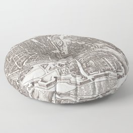 Large Map of Paris from 1618 Floor Pillow