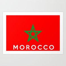 Morocco country flag name text Art Print