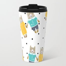 Cute bears in dotted background Travel Mug