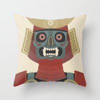 samurai Throw Pillows featuring Samurai by James White