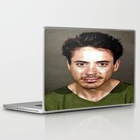 robert downey jr Laptop & iPad Skins featuring Robert Downey Jr. Mugshot by Neon Monsters