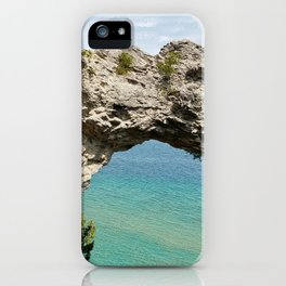 Arch Rock on Mackinac Island, Michigan with Lake Huron in the Background iPhone Case