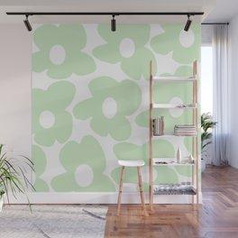 Large Baby Green Retro Flowers White Background #decor #society6 #buyart Wall Mural