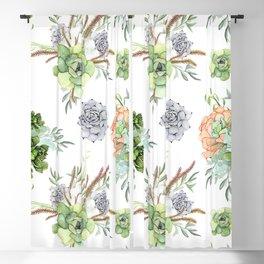 Succulents Mint Green Lavender Lilac Coral Violet Pattern Blackout Curtain