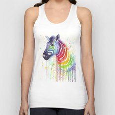 Zebra Watercolor Rainbow Animal Painting Ode to Fruit Stripes Unisex Tank Top