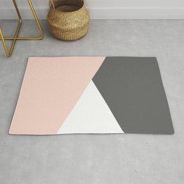 Elegant blush pink & grey geometric triangles Rug