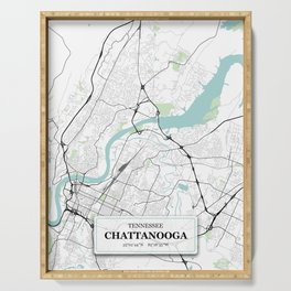 Chattanooga, Tennessee City Map with GPS Coordinates Serving Tray