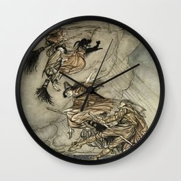 """Four Witches """"Up The Chimney"""" by Arthur Rackam Wall Clock"""