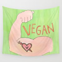 vegan Wall Tapestries featuring Vegan Strong by Rootiful