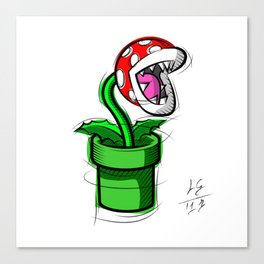 Piranha Plant Digital Drawing, Games Art, Super Mario, Nintendo Art Canvas Print