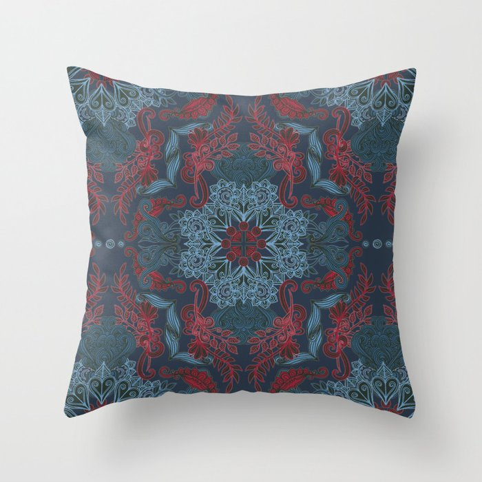 Vintage Fancy A Pattern In Deep Teal Amp Red Throw Pillow
