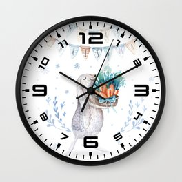 Christmas adorable bunny #1 Wall Clock