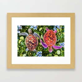 Turtles in a green salad Framed Art Print