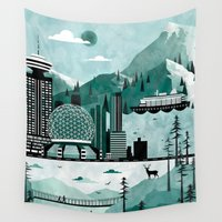vancouver Wall Tapestries featuring Vancouver Travel Poster Illustration by ClaireIllustrations