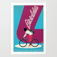 cycling Art Prints featuring Cycling by Carlos Hernandez
