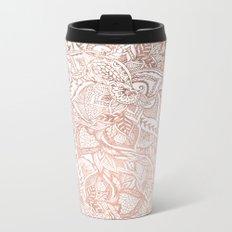 Chic hand drawn rose gold floral mandala pattern Metal Travel Mug