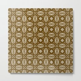 Brown Diamond Floral Metal Print