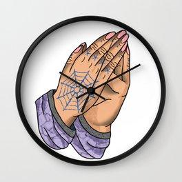 Praying Hands, Pink Nails Wall Clock
