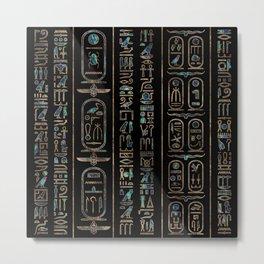 Egyptian hieroglyphs pattern Gold Abalone Metal Print