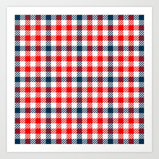 Red & Blue Gingham Pattern Art Print