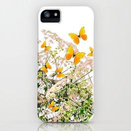 WHITE ART GARDEN ART OF YELLOW BUTTERFLIES iPhone Case