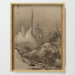 Sesshu Toyo - Autumn and Winter Landscape Serving Tray