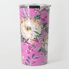 PRETTY MARCY Hot Pink Floral Travel Mug