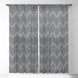 Moroccan Horizontal Stripe in Charcoal Sheer Curtain