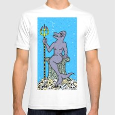 DOLPHIN KING.  (Death Without Porpoise). Mens Fitted Tee White MEDIUM