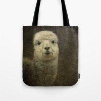 alpaca Tote Bags featuring Alpaca  by Guna Andersone & Mario Raats - G&M Studi