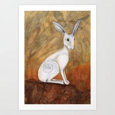 White Hare at Sunset Art Print
