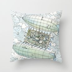 Flying over the montains Throw Pillow