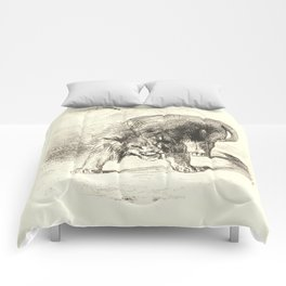 "Eugène Delacroix ""Lion standing"" Comforters"