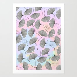 biloba on pastel pink and baby blue watercolor background Art Print
