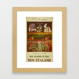 Vintage Rotorua New Zealand Travel Framed Art Print