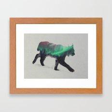 Lynx In The Aurora Borealis Framed Art Print