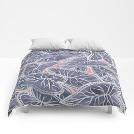 Tropical Caladium Leaves Pattern - Purple Gray Coral Comforters
