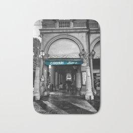 Black and White Bologna Street Photography Vector Green Bath Mat