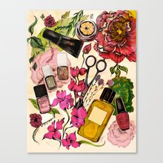 Nail polish and peonies Canvas Print