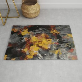 Yellow / Golden Abstract / Surrealist Landscape Painting Rug