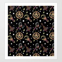 magical neon pattern  Art Print