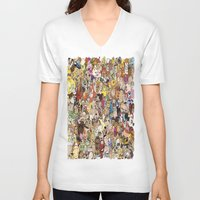 cartoon V-neck T-shirts featuring Cartoon Collage by Myles Hunt
