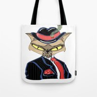gangster Tote Bags featuring Gangster Kitty by J&C Creations